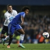 Willian battles for possession with Kyle Walker during Saturday's clash