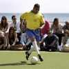 Former Brazil international Mauro Silva controls the ball at the Sagatiba Football Event during the 59th Cannes Film Festival on May 22, 2006