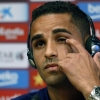 Barcelona player Douglas attends a news conference after his presentation at Camp Nou on August 29, 2014