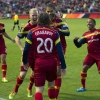 Real Salt Lake celebrate after a goal by forward Álvaro Saborío against Vancouver Whitecaps during the first half of their match at Rio Tinto Stadium on 26th April, 2014