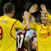 Lucas Leiva of Liverpool celebrates with Rickie Lambert after their win over Burnley at Turf Moor on 26th December, 2014