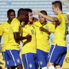 Brazil's Nathan (10) celebrates with his team mates after scoring a goal against Peru during their 2015 South American Youth Football Championship match at Estadio Centenario on 4th February, 2015