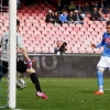 Napoli's José Callejón shoots to score against Fiorentina goalkeeper Neto during their Serie A match at San Paolo on 12th April, 2015