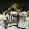 Orlando City SC midfielder Kaká celebrates with team-mates after scoring a goal against Montreal Impact during their match at Olympic Stadium on 28th March, 2015