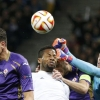 Fiorentina's goalkeeper Neto (R) jumps for the ball as his team-mates Mario Gómez (L) and Gonzalo Rodríguez (2nd R) go for a header with Dynamo Kyiv's Jeremain Lens during their UEFA Europa League quarter-final first leg match at NSC Olimpiyskiy Stadium on 16th April, 2015