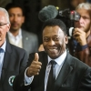 Pelé (R) and Franz Beckenbauer pose for photographs after they ceremonially turned on the lights of the Empire State Building during an event to celebrate the start of the New York Cosmos 2015 season, in New York on 17th April, 2015