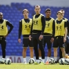 Tottenham Hotspurs's Danny Rose, Benjamin Stambouli, Harry Kane, Paulinho and team mates during training at White Hart Lane on 9th April, 2015