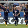 Paris Saint-Germain's Maxwell (L), Ezequiel Lavezzi and David Luiz (R) celebrate after scoring a goal against LOSC during their Ligue 1 match at Parc des Princes, on 25th April, 2015