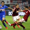 Sampdoria's Éder (L) challenges Milan's Giacomo Bonaventura (R) and Alessio Cerci (C) during their Serie A match at San Siro on 12th April, 2015