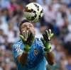 Valencia's goalkeeper Diego Alves catches the ball during their La Liga match against Real Madrid at Santiago Bernabéu Stadium on 9th May, 2015