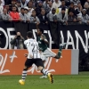 Palmeiras' Zé Roberto (2nd R) heads the ball to score past Corinthians' goalkeeper Cássio Ramos (R) during their Brasileirão match at Arena Corinthians on 31st May, 2015