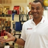 Former Brazilian player Cafu shows his 2002 FIFA World Cup medal at his home during the film screening of